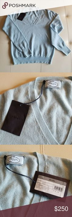 Prada Cashmere Sweater Light blue Prada cashmere sweater Prada Sweaters V-Necks