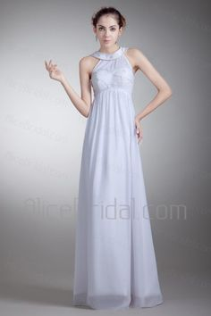 Chiffon Jewel Floor Length Empire Line Embroidered Wedding Dress - Alice Bridal