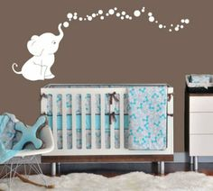 Amazon.com: Elephant Bubbles Nursery Wall Decal Set (Grey): Baby