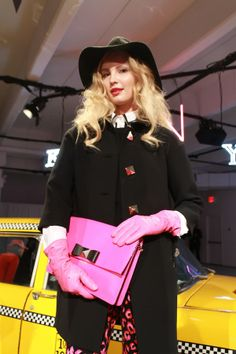 hot pink accessories and mod hats at kate spade fall 2013