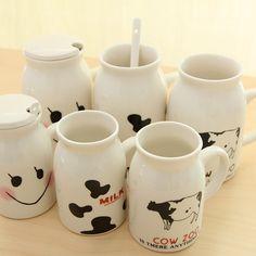 Doce dos desenhos animados xícara de leite caneca casal água cerâmica café café da manhã leite garrafa de leite caneca copos de cerâmica canecas de porcelana presentes bonitos em Canecas de Home & Garden no AliExpress.com | Alibaba Group