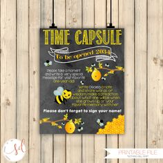 Bumble Bee Birthday, Honey Bee Time Capsule Sign, Bee First Birthday Guestbook Sign, Bumblebee Birthday Party Decoration, DIGITAL FILE by SquishyDesignsbyMe on Etsy