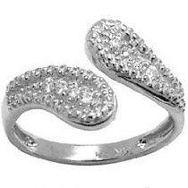 14K White Gold Cubic Zirconia Wrap Toe Ring