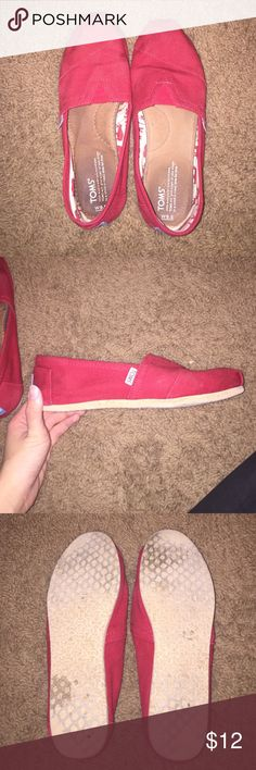 Red TOMS Red TOMS, some wear but still have a lot of life. I'm open to offers!! TOMS Shoes Slippers
