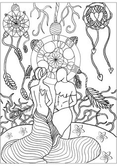 Dreamcatcher love - Dreamcatchers Coloring Pages for Adults - Just Color Printable Coloring Pages, Adult Coloring Pages, Coloring Books, Dream Catcher Coloring Pages, Symbols, Gallery, Color Pictures, Lovers, Artist
