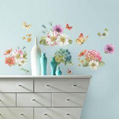 Decoratie stickers: muurstickers aquarel slaapkamer decoraties rose ...