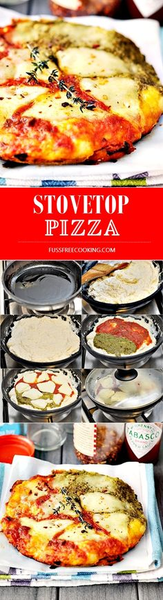 Recipe for 4-ingredients STOVETOP pizza--we didn't have self-rising flour so we used 2 tsp baking powder per 1 cup flour