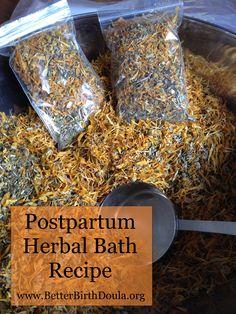 Herbal Bath Recipe www.BetterBirthDoula.org