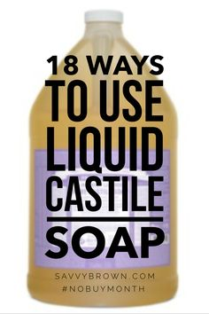 Trying to save money? Use Castile soap. I use it for practically everything!check out these great tips! #nobuymonth Castile Soap Uses, Castile Soap Recipes, Liquid Castile Soap, Homemade Cleaning Products, Household Cleaning Tips, Natural Cleaning Products, Cleaning Hacks, Household Products, Natural Cleaning Recipes