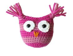 Owl Baby Rattle Crochet Dark Pink and by CinnamonCreekBoutiqu
