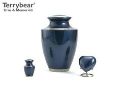 Terrybear Moonlight Blue Trinity Collection: Large Cremation Urn, Keepsake and Heart Keepsake