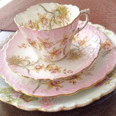Pastel floral tea and crumpet set Tea Cup Saucer, Tea Cups, Coffee Cups, Tea And Crumpets, Vintage Dishes, Vintage Teacups, China Tea Sets, Teapots And Cups, Tea Art
