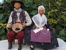 FRENCH SANTONS DE PROVENCE by S. JOUGLAS, Couple sitting on bench. Basket Weaver and Knitter