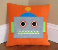 Robot Pillow by My3SillyMonkeys on Etsy, $20.00