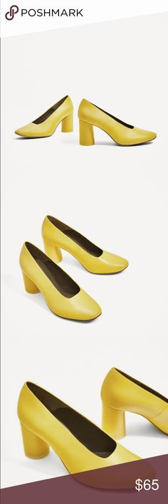 NWOB Zara Yellow Leather Stacked Heel Shoes Yellow leather mid heel shoes. Lined cylindrical heel detail. High cut. Rounded toe. Heel height of 7.0 cm. / 2.7″. Zara Shoes Heels