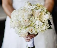 A bouquet of roses, hydrangeas, and gardenias will beautifully complement your wedding dress.