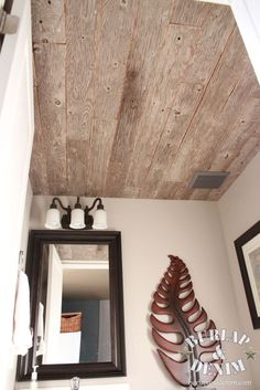 reclaimed plywood ceiling
