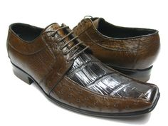 MEN'S BROWN GENUINE CROCODILE ALLIGATOR & OSTRICH SKIN DRESS SHOES EXOTIC OXFORD