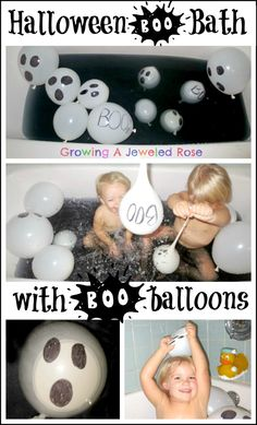 Halloween balloon bath with BOO Balloons! Bath time ghost chase- SO FUN!