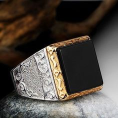 Black ONYX MEN'S RING in Solid Fine Silver 925 with Natural Stone sizes 9 to 11