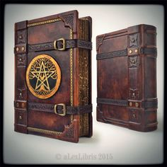 The Great Grimoire, 9.3 x 12.7 inches... by alexlibris999 tome book journal diary spellbook leather cosplay costume LARP LRP equipment gear magic item | Create your own roleplaying game material w/ RPG Bard: www.rpgbard.com | Writing inspiration for Dungeons and Dragons DND D&D Pathfinder PFRPG Warhammer 40k Star Wars Shadowrun Call of Cthulhu Lord of the Rings LoTR + d20 fantasy science fiction scifi horror design | Not Trusty Sword art: click artwork for source