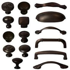 Cabinet Hardware Knobs Bin Cup Handles and Pulls - Oil Rubbed Bronze. Oil-rubbed bronze doesn't show fingerprints or water spots. Kitchen Cabinet Remodel, Kitchen Cabinet Hardware, Kitchen Handles, White Kitchen Cabinets, Kitchen Knobs And Pulls, Kitchen Island, Kitchen Nook, Apartment Kitchen, Hardware For Kitchen Cabinets
