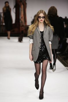 loving the juxtaposition of the sparkling dress with the menswear blazer