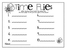 Time flies--game where kids draw cards with times you want them to work on and record them on record sheet, and if they draw a fly, they lose a turn. Teaching Time, Teaching Math, Teaching Ideas, Math Classroom, Kindergarten Math, Classroom Ideas, Telling Time Games, Second Grade Math, Third Grade