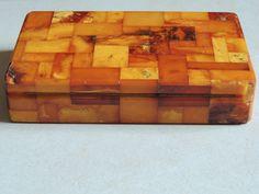 BERNSTEIN AMBER BOX KÖNIGSBERG PR - BUTTERSCOTCH ART DECO in Art, antiquités…
