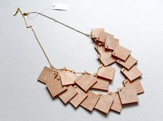 "Kette mit hautfarbenen Lederquadraten ""NUDE"" von slbr_berlin auf DaWanda.com"