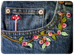 thrift finds embroidered jeans 3 by bewitchedmagic, via Flickr