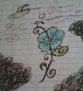 This is just a random doodle with colored pens that I've decide the flower will b turned sideways and go on my hip...