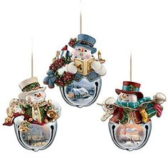 The Bradford Exchange Thomas Kinkade Snow-Bell Holidays Snowman Ornaments: Set of Three Snowman Christmas Ornaments, Christmas Bells, Christmas Stockings, Christmas Decorations, Holiday Decor, Snowman Decorations, Christmas Paper, Christmas 2017, Christmas Crafts