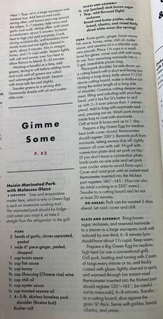 Hoisin Marinated Pork with Molasses Glaze - BA Jun/Jul 2018