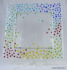 One of a kind - Unique - Perfect in your home or as a gift - Bullseye Glass Spotted Plate - Bubbles formed from small squares and when fired in the kiln pull themselves up into domes