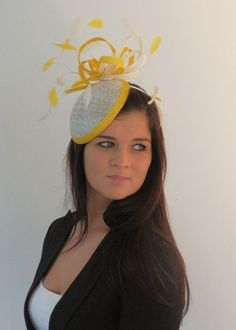 Dutch design white and yellow sinamay by MarcusArtandFashion, $129.00