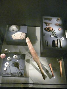 Textile tools (spindle whorls, whale bone beater for weaving) from the Icelandic National Museum, Reykjavik