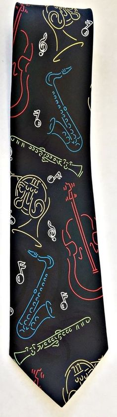 Abba Pure Silk Mens Tie  Musical Instruments Black Blue Yellow Red Green #Abba #Tie