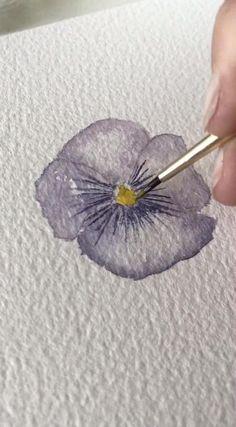 Watercolor Art Lessons, Watercolor Paintings For Beginners, Watercolor Techniques, Watercolor Pencil Art, Simple Watercolor, Watercolor Art Paintings, Flower Watercolor, Flower Paintings, Easy Paintings