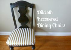 Design Improvised used our gold stripe pattern to reupholster some bland dining chairs.