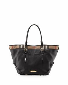 Leather Tote with Check Trim, Black by Burberry at Neiman Marcus.