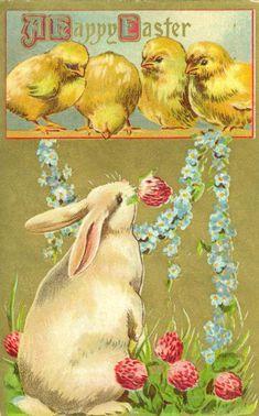 Free Vintage Greeting Cards: Easter Chicks