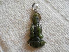 Mặt dây chuyền inox Quan Âm đứng Ngọc bích Nephrite - Ngọc phong thuỷ.