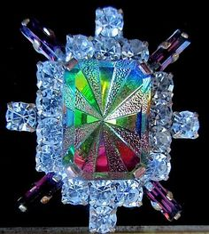 A big WOW Czech All Glass Rhinestone Button