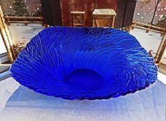 Vintage Pertti Kallioinen Metsa  (Forest) Large Cobalt Glass Serving Bowl by Lasisepät Mäntsälä  $42.00 at Etsy