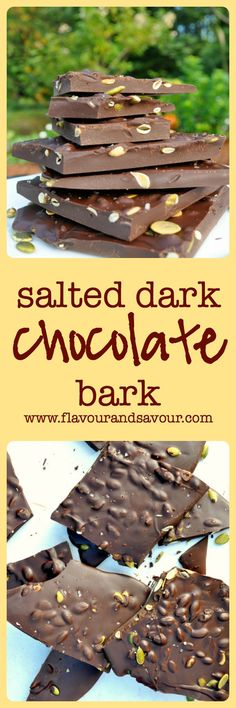 Salted Dark Chocolate Bark with Pumpkin Seeds. Quick and easy cure for a chocolate craving.  www.flavourandsavour.com
