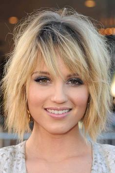short hairstyles for heart shaped faces and thick hair - Google Search