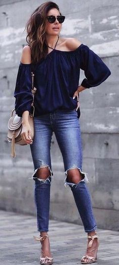 #summer #girly #outfitideas | Shades Of Blue + Pop Of Nude