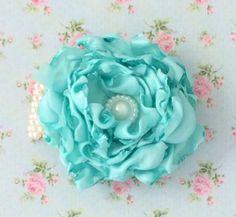 Wrist corsage fabric mint green flower by Lovefromlilywedding