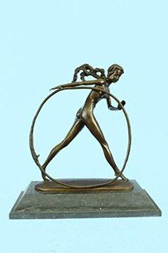 ...Handmade...European Bronze Sculpture Modern Vintage Art Deco Dh Chiparus Female Dancer Metal (XN-2000-EU) Bronze Sculpture Statues Figurine Nude Office & Home Décor Collectibles Sale Deal Gifts